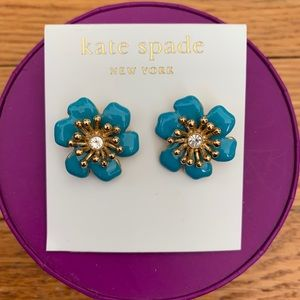 kate spade teal, gold and diamond flower earrings